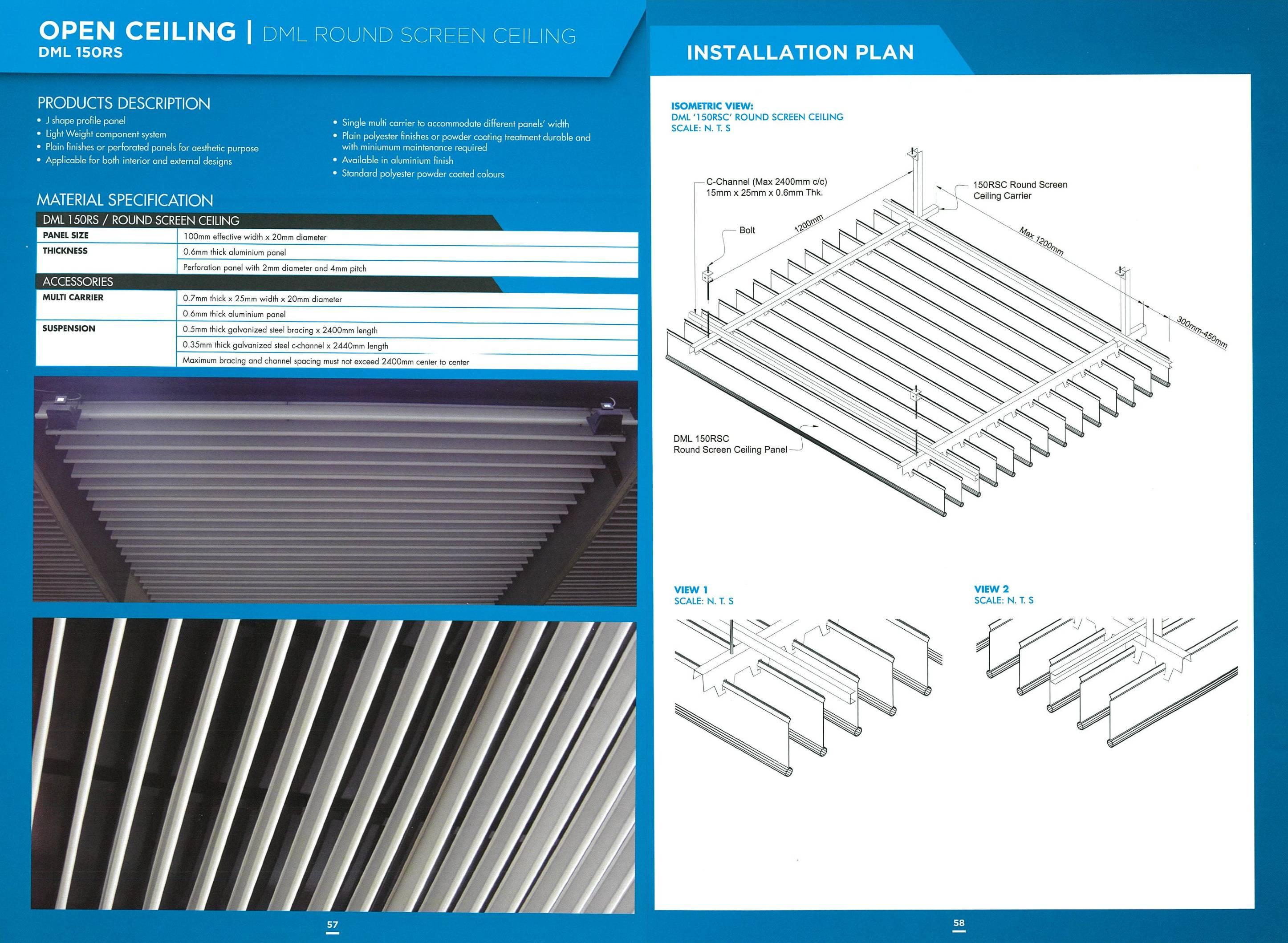 DML 150RS Round Screen Ceiling | Aluminium Open Ceiling