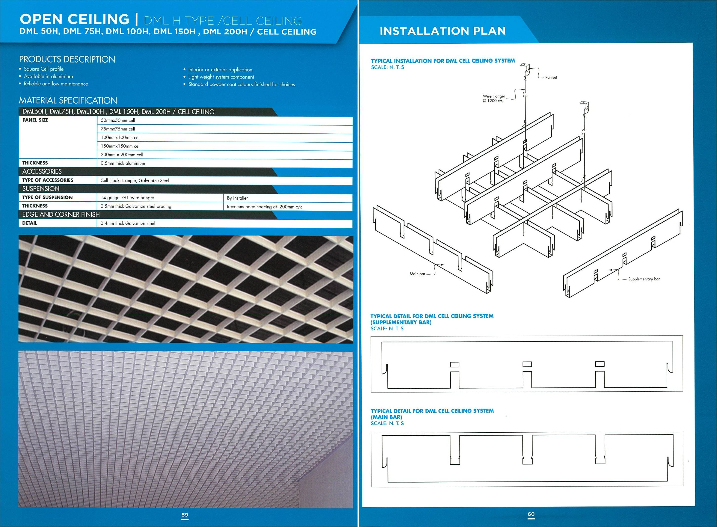 DML H Type Open Cell Ceiling | Aluminium Cell Ceiling